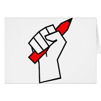 Redefreiheit-Bleistift in der Faust Karte