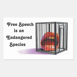 Redefreiheit ist bedrohte Art Rechteckiger Aufkleber