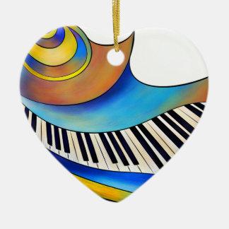 Redemessia - gewundenes Klavier Keramik Herz-Ornament
