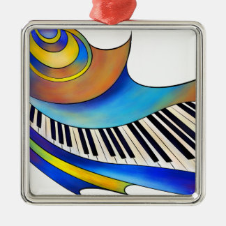 Redemessia - gewundenes Klavier Quadratisches Silberfarbenes Ornament