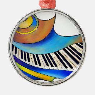Redemessia - gewundenes Klavier Rundes Silberfarbenes Ornament
