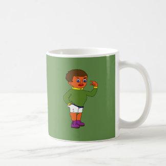 redet Jungen an Kaffeetasse