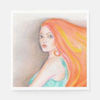 Redhead-Dame Papierserviette