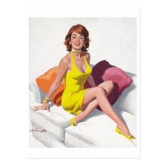 Redhead in Yellow Dress Postkarte