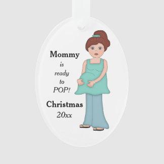 Redhead-schwangere Mama bereit zur Pop-Verzierung Ornament