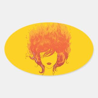 Redheaded Frau, rotes Feuer-Haar Ovaler Aufkleber