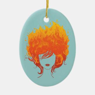 Redheaded Frau, rotes Feuer-Haar Ovales Keramik Ornament