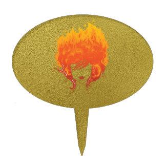 Redheaded Frau, rotes Feuer-Haar Tortenaufsätze