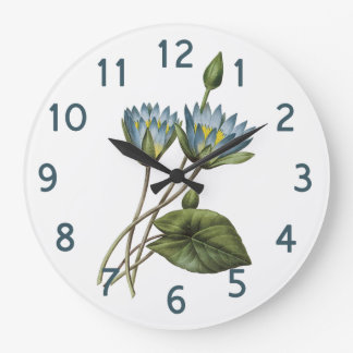 Redoute blaues Lotus BlumenAquarell Große Wanduhr