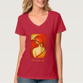 Reflektierende Dame In Orange T-Shirt