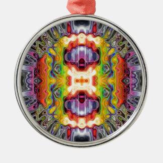 Reflektierendes spektralesabstraktes rundes silberfarbenes ornament