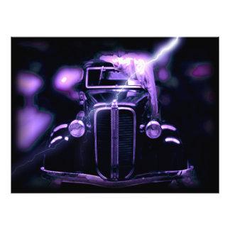 Reflexion der sammelbaren klassischen Autos Photodrucke