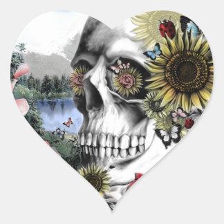 Reflexion, Landschaftsschädel Herz-Aufkleber