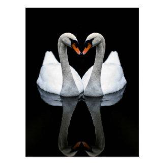 Reflexionen der Liebe, Herz-Form, weiße Schwäne Postkarte