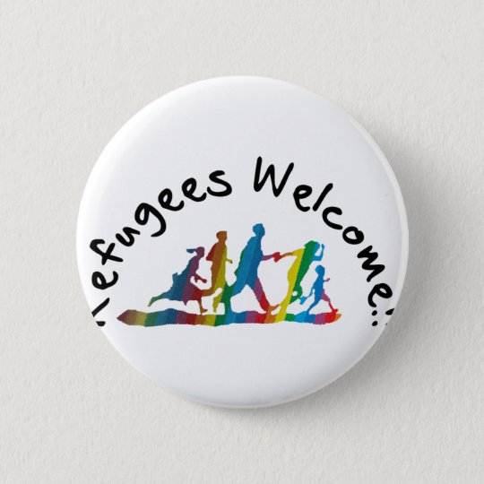 Refugees Welcome Runder Button 5,1 Cm
