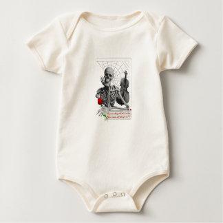 Regel, die Skelett mit Rose und Violine bricht Baby Strampler