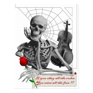 Regel, die Skelett mit Rose und Violine bricht Postkarten