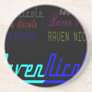 Regelmäßiges Logo Raben-Nicoles und zahlreiche Untersetzer