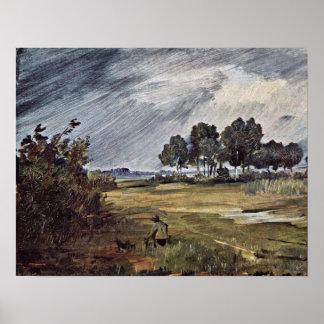 Regen-Landschaft durch Wilhelm Busch Plakatdruck