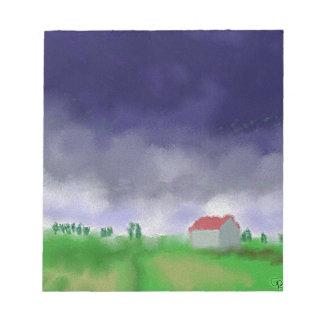 Regen mit Scheunen-Kunst Notizblock