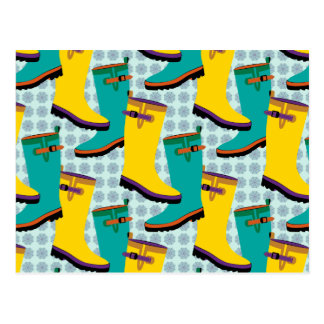 Regen-Stiefel bunt Postkarten