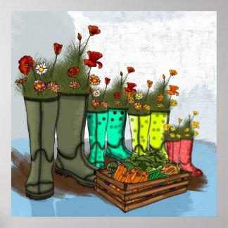 Regen-Stiefel-Familien-Plakat, Mohnblumen, Gemüse Poster