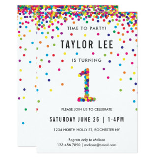 Regenbogen-1. Geburtstags-Party, erster Geburtstag Karte