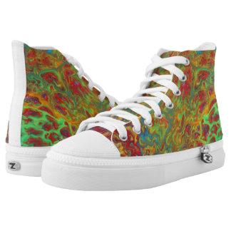 Regenbogen-abstraktes Turnschuh-Gegenteil Hoch-geschnittene Sneaker
