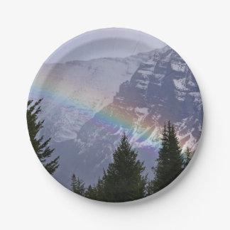 Regenbogen am Glacier Nationalpark - Berge Pappteller