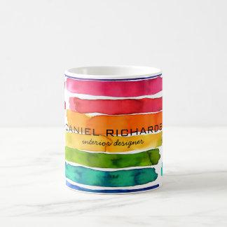 Regenbogen-Aquarell Innenarchitekt-Visitenkarte Kaffeetasse