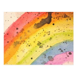 Regenbogen-Aquarell-Postkarte