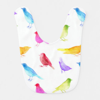 Regenbogen-Aquarellvögel malten bunte Piepmätze Babylätzchen