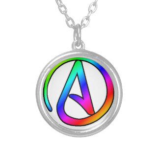 Regenbogen-Atheisten-Symbol Versilberte Kette