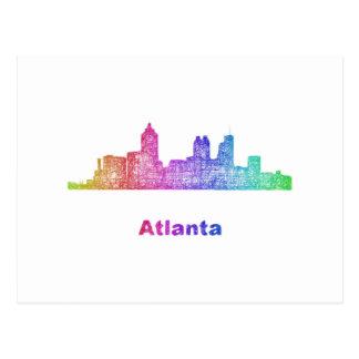 Regenbogen-Atlanta-Skyline Postkarte