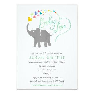 Regenbogen-Baby, Elefant-Babyparty-Einladung 12,7 X 17,8 Cm Einladungskarte