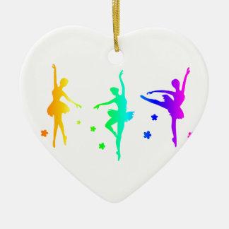 Regenbogen-Ballerina Keramik Herz-Ornament