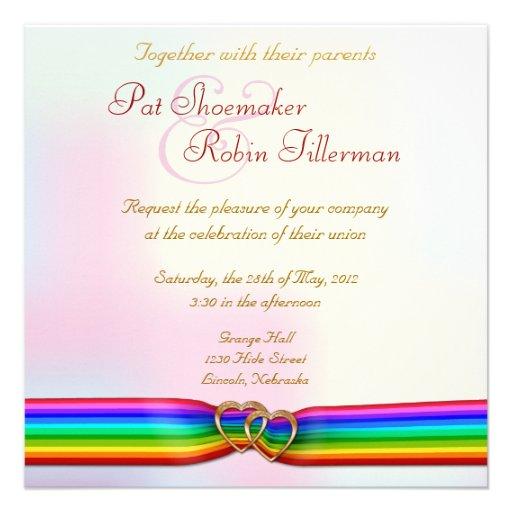 Regenbogen-Band-Doppelt-Herzen, die Einladung 2