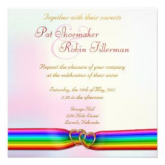 Regenbogen-Band-Doppelt-Herzen die Einladung 2