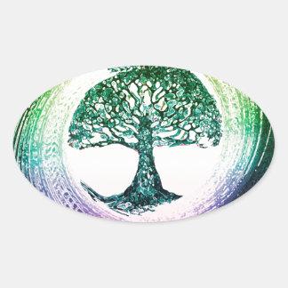 Regenbogen-Baum des Lebens durch Amelia Carrie Ovaler Aufkleber