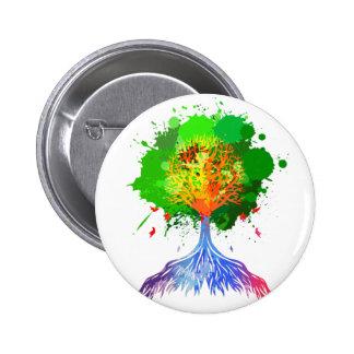 Regenbogen-Baum des Lebens Runder Button 5,7 Cm