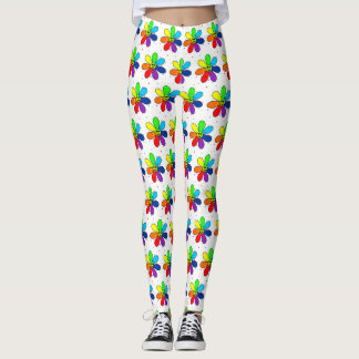 Regenbogen-Blumen-Gamaschen Leggings