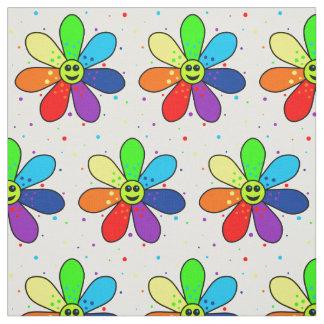 Regenbogen-Blumen-Gewebe Stoff