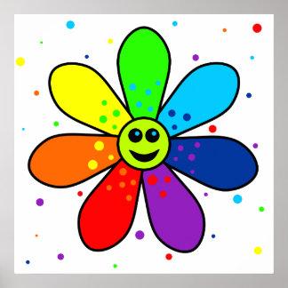Regenbogen-Blumen-Plakat Poster