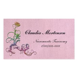 Regenbogen-Blumen verschönert auf rosa Visitenkartenvorlagen