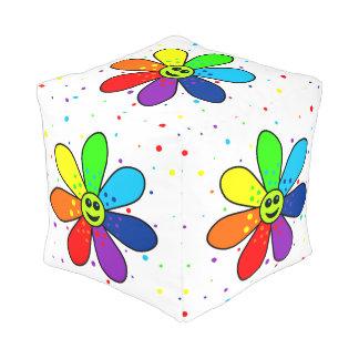 Regenbogen-Blumen-Würfel-Puff Kubus Sitzpuff