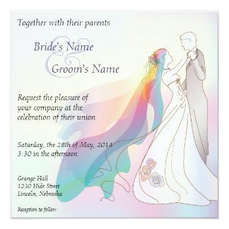 Regenbogen-Braut-u. Bräutigam-Hochzeit laden - 1 Quadratische 13,3 Cm Einladungskarte