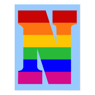 Regenbogen-Buchstabe N Postkarte