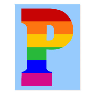 Regenbogen-Buchstabe P Postkarte