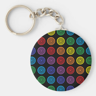 Regenbogen-Bullaugen-Schwarzes Schlüsselanhänger