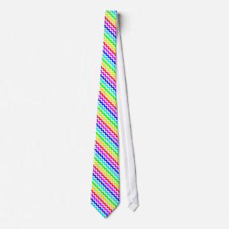 Regenbogen-bunte weiße Zickzack Krawatte